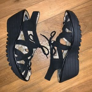 Black 8 Fly London wedges sandals